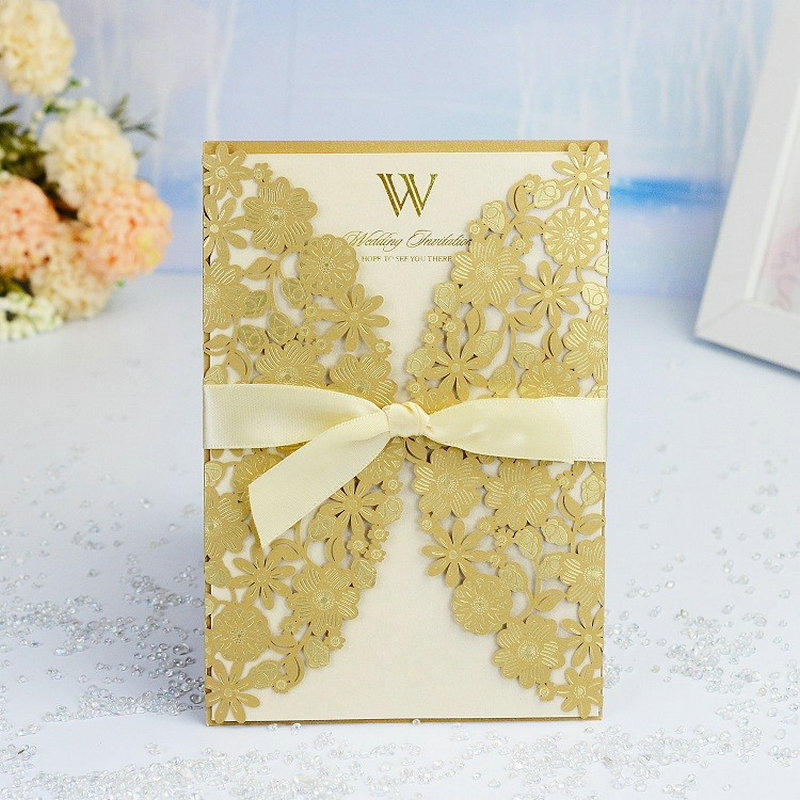 1pcs Gold Sample Laser Cut Wedding Invitations Card Lace Flower Cute Greeting Cards Customize with Ribbon Wedding Party Supplies