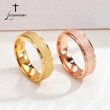 Женские матовые кольца letdiffy 6 мм, сверкающие парные кольца из нержавеющей стали для влюбленных, подарки на помолвку