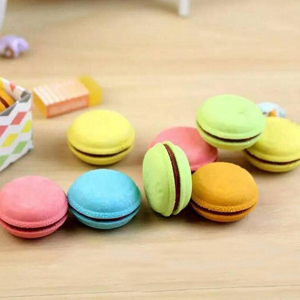 New Multi-colors Macarons Cookie Rubber For Pupils Kids School Office Eraser Pack Of Erasers Kits Hamburger