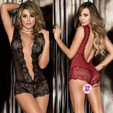 Womens Sexy Lingerie Jumpsuit V-neck Lace Embroidery Floral Jumpsuits For Ladies