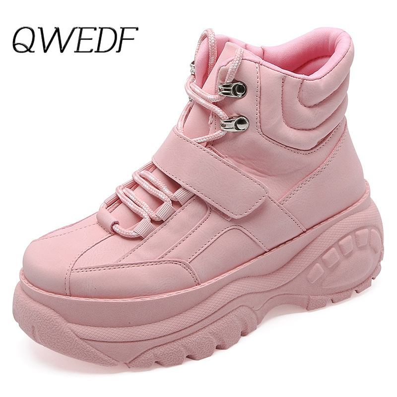 QWEDF Women's Chunky Sneakers 2019 Fashion Women Platform Shoes Lace Up Pink Vulcanize Shoes Womens Female Trainers Shoes X1-47