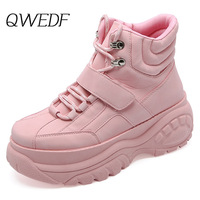 QWEDF Women's Chunky Sneakers 2019 Fashion Women Platform Shoes Lace Up Pink Vulcanize Shoes Womens Female Trainers Shoes X1 47