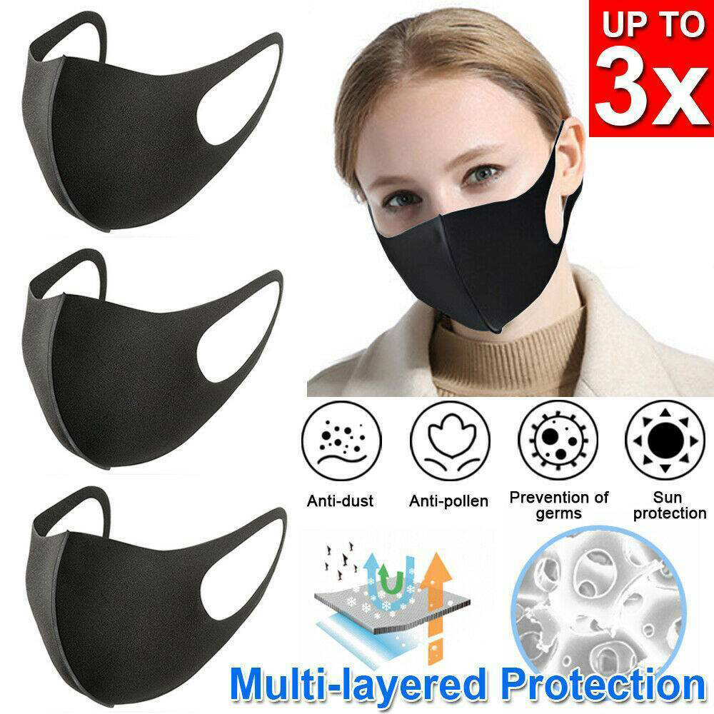 Reuseable 3PCS Black Cotton Proof-dust Mask Bicycle Unisex Outdoor Sports Cycling Wearing Windproof Warm Face Mouth Half Mask