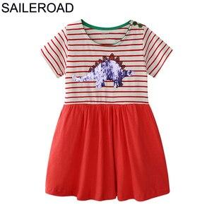 SAILEROAD Baby Dress Animal Kids Girls Dress for Summer Children Paillettes Clothes Dinosaur Sequins Cotton Newborn Girl Vestido(China)