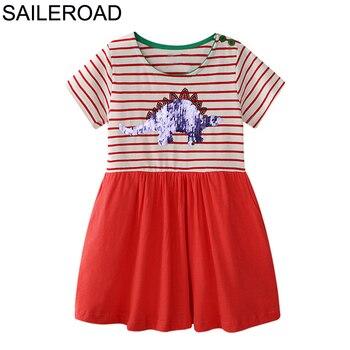 SAILEROAD Bebê Vestido Animal Crianças Meninas Vestido para o Verão Crianças Paillettes Roupas Dinossauro Lantejoulas Algodão Menina Recém-nascida Vestido