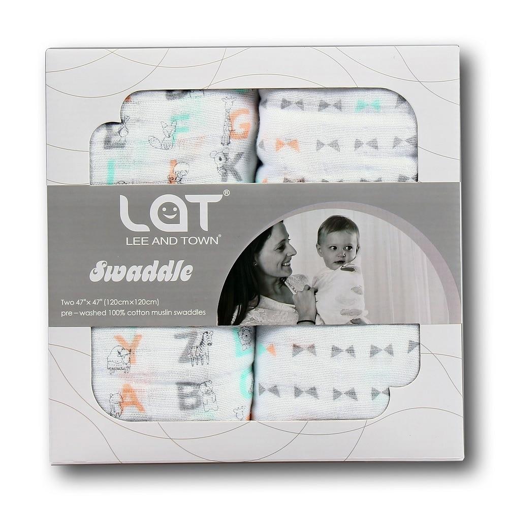 LAT 2 Pack Baby Cotton Muslin Swaddle Blankets Newborn Soft Wrap Large Blanket Pram Nursing Cover Baby Shower Gift 47''x 47''