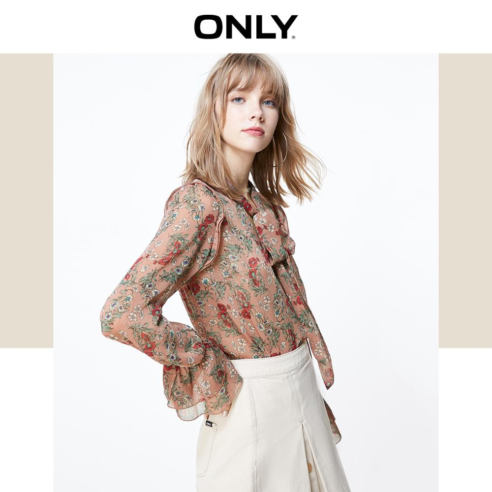 ONLY Women's Lace-up Spliced Long-sleeved Chiffon Shirt | 119351542