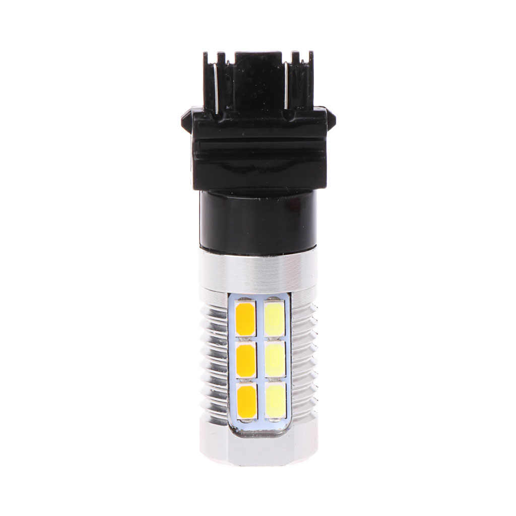 1PC 3157 50W 5630 Dual Color Switchback Yellow White LED Turn Signal Light Bulbs