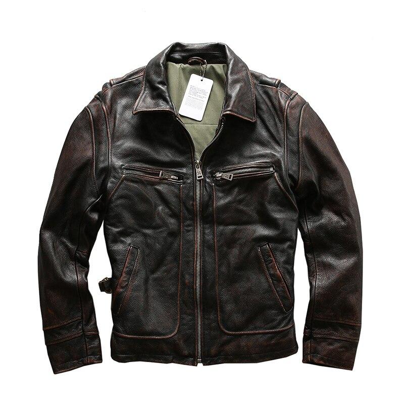 Read Description! Asian Size Men's Cow Leather Jacket Mens Genuine Cowhide Leather Vintage Jacket A1319