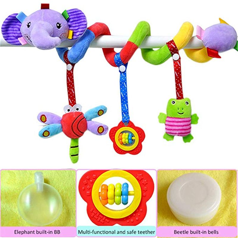 Elephant Elephant Cartoon Stroller Arch Rattles Hanging Cute Plush Animals Style Bed Around For Baby Education Toy Spiral Wrap