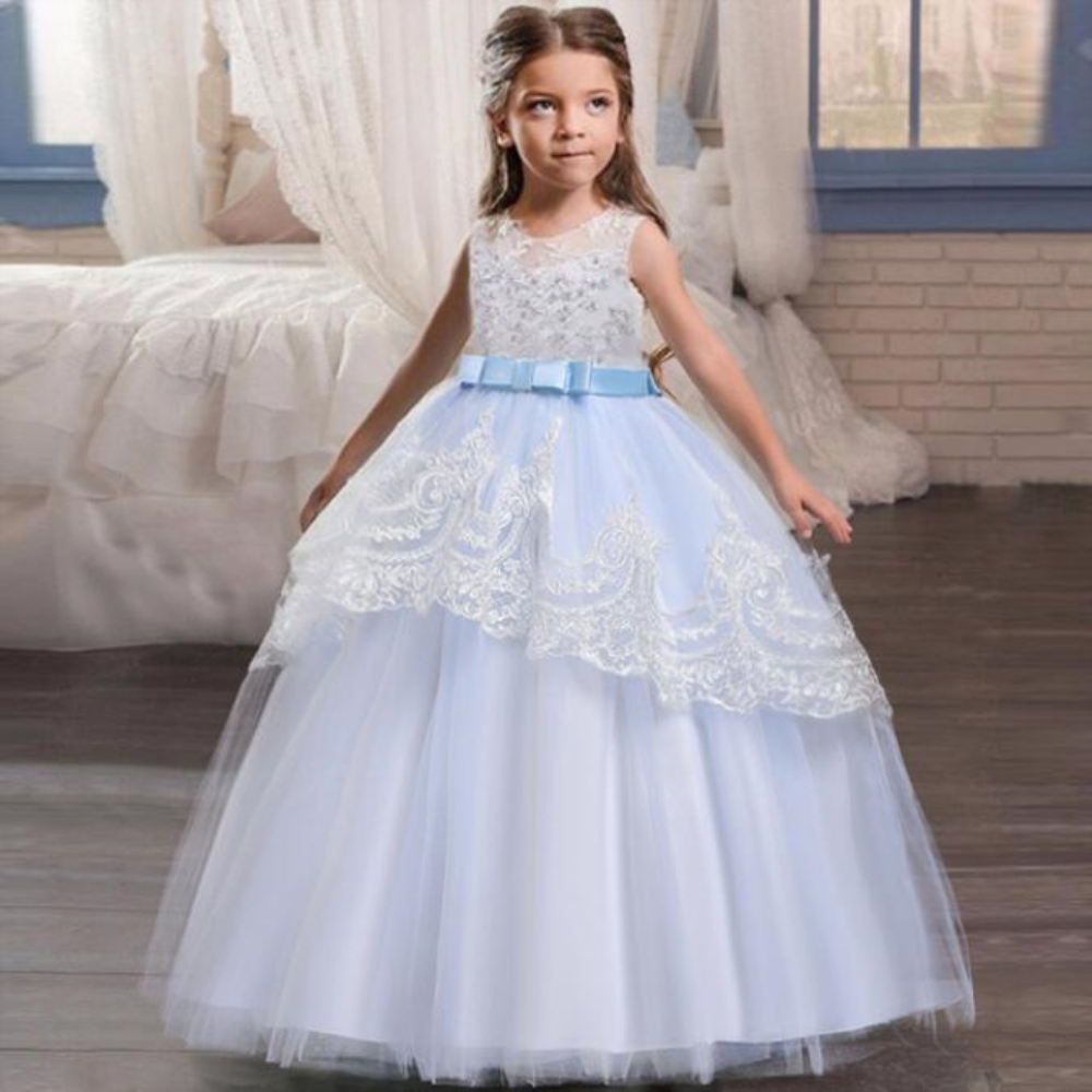 New Christmas Kids Dresses For Girls Teenager Bridesmaid Elegant Princess Wedding Lace Dress Vestido Party Formal Wear 3-12yrs