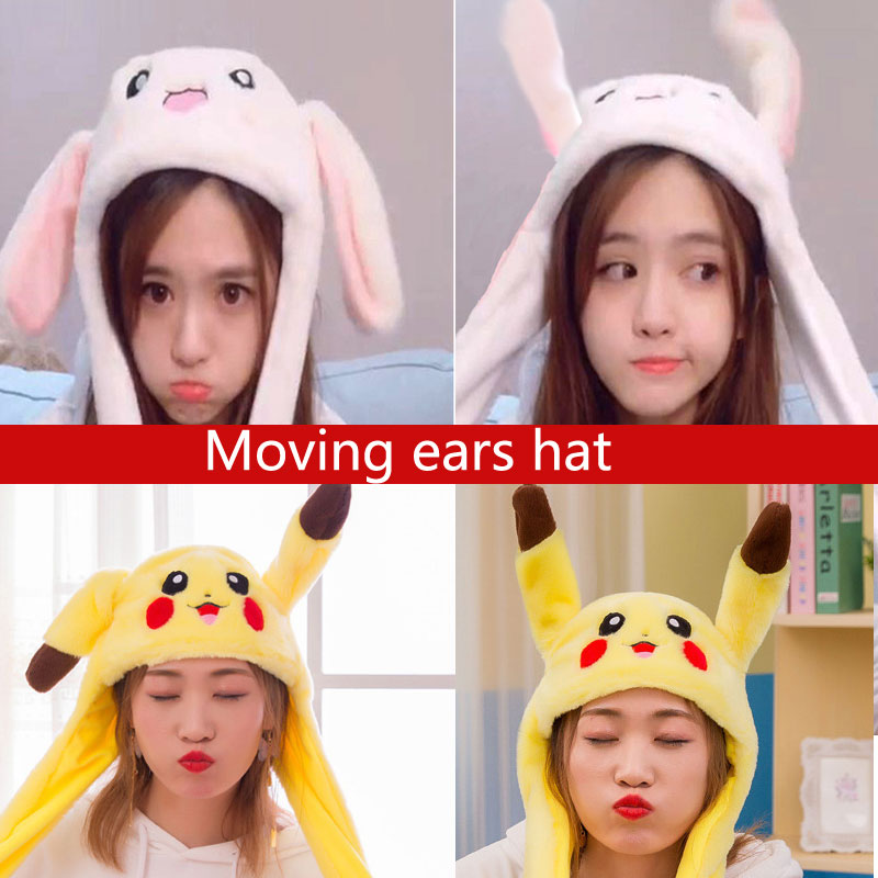 Rabbit Hat With Moving Ears Cute Cartoon Toy Hat Airbag Kawaii Funny Toy Cap Kids Plush Toy Birthday Gift  Hat For Girls