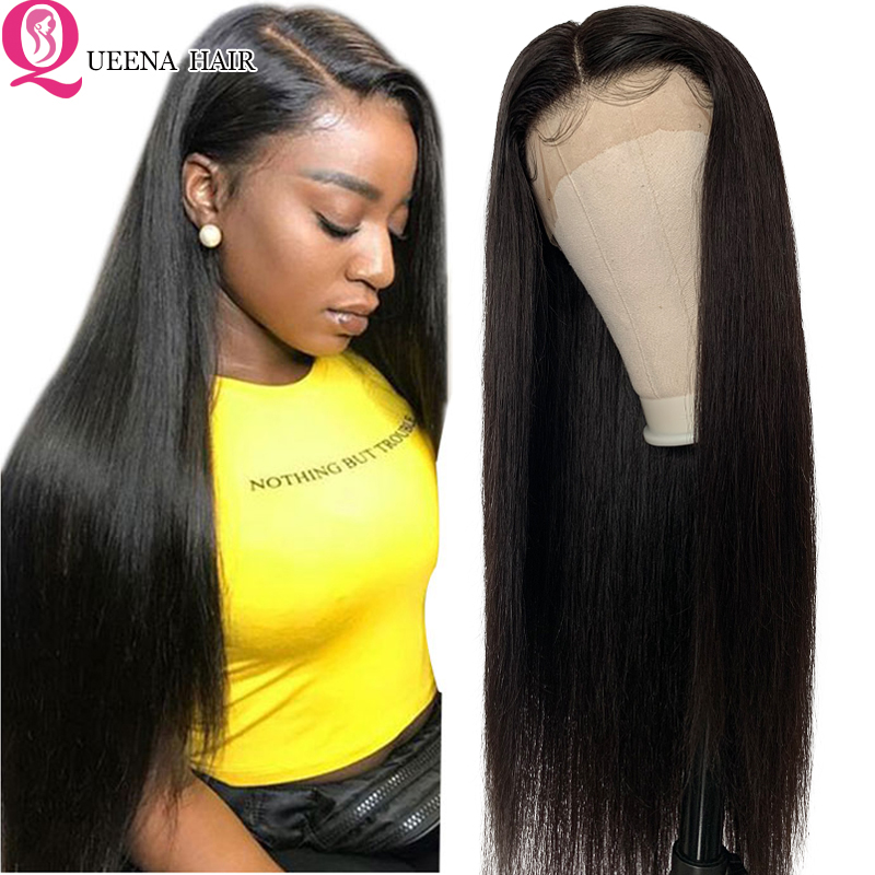 Straight Lace Front Human Hair Wigs For Black Women Cheap Brazilian Transparent Front Lace Wig Remy Pre Plucked Natural Hairline