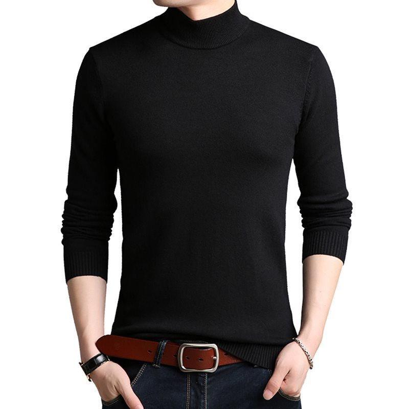 MEN Solid Sweater Autumn Spring Pullovers best quality Nice Plus size 4XL Men Turtleneck Sweaters Coat Cotton Pullover