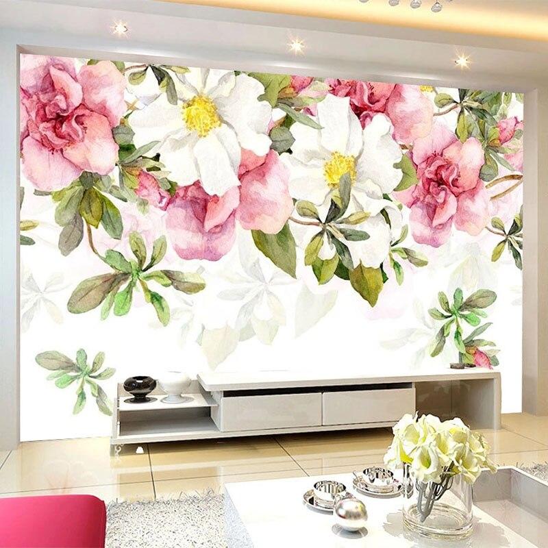 Custom Mural Wallpaper Modern Romantic Pink Flowers Fresco Living Room Bedroom Home Decor Wall Painting Papel De Parede Tapety