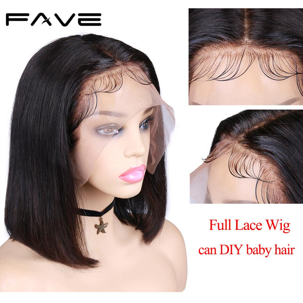 FAVE Full Lace Human Hair Wigs With Baby Hair For Black Women Brazilian Remy Pre Plucked Straight Glueless Lace Wig 150% Density