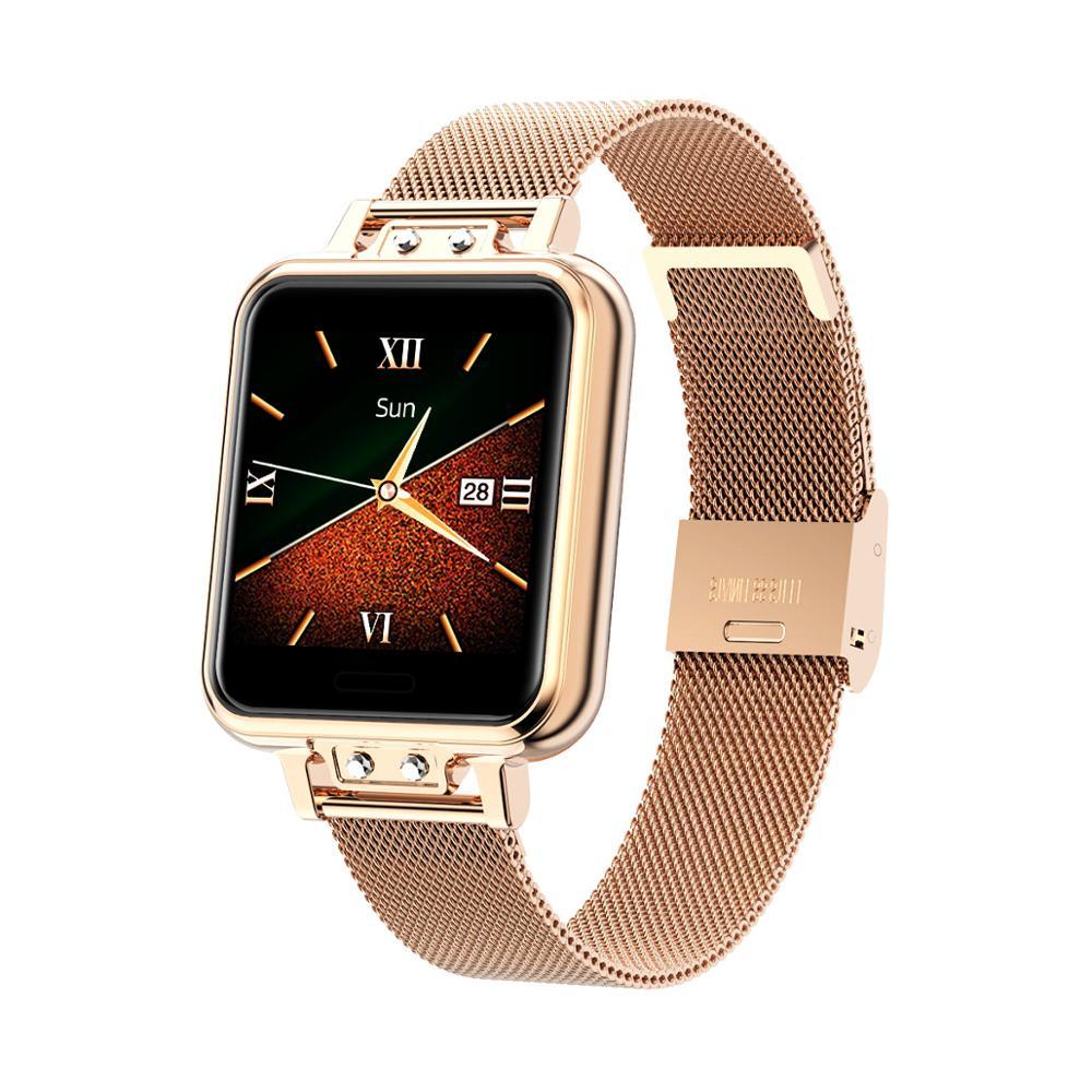ZL13 Смарт-часы для женщин из нержавеющей стали цветной экран Смарт-часы с пульсом, кровяным давлением, Женское здоровье и уведомления