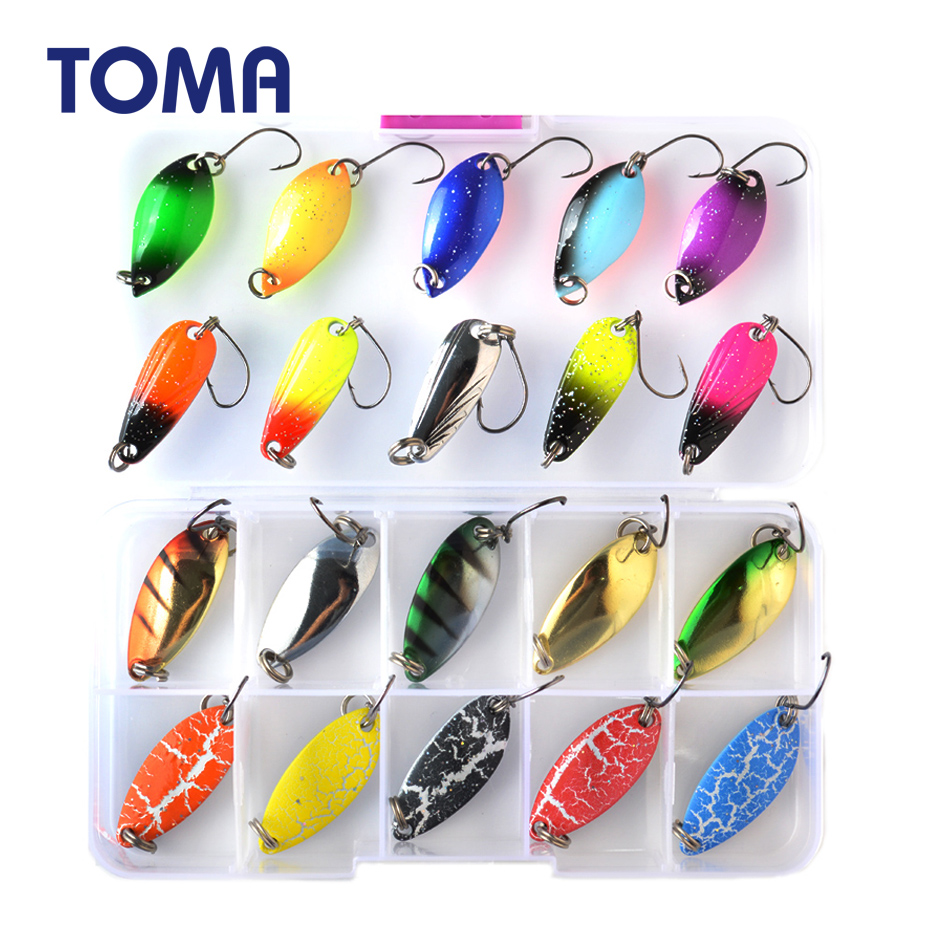 TOMA Trout Spoon Lure Set Metal Bait 2.5g 3g 4.5g 5g Mixed Colors Pesca Freshwater Fishing Tackle Isca Artificial Lake Fishing