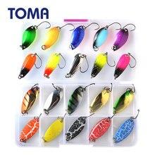 TOMA-Juego de señuelos de cuchara para trucha, cebo metálico, 2,5g, 3g, 4,5g, 5g, colores mezclados, aparejos de Pesca de agua dulce, Pesca Artificial de Lago Isca