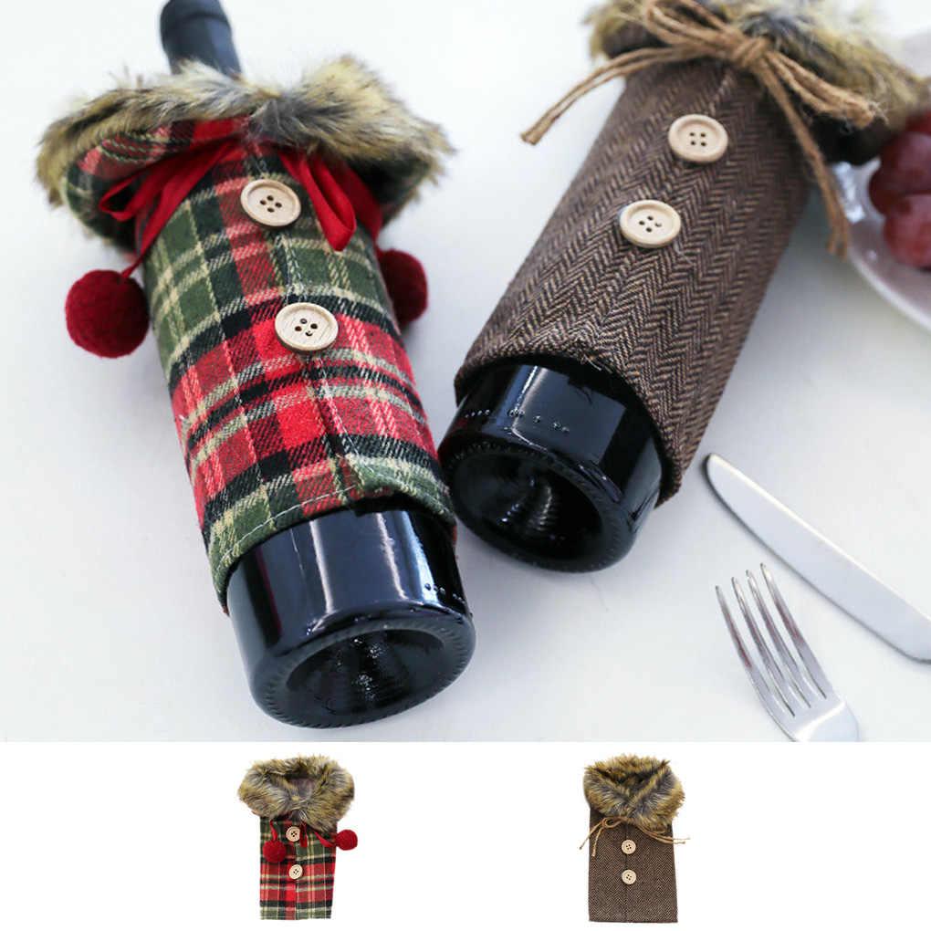 عيد الميلاد سترة غطاء زجاجة النبيذ طوق زر زجاجة شمبانيا معطف زينة حفلة عيد الميلاد