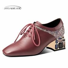 جديد الضحلة النساء مضخات جلد طبيعي عالية الكعب مكتب أحذية رقص امرأة الربيع الخريف الدانتيل يصل الأحذية الكلاسيكية Steinmeier