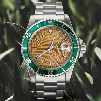Zegarek 1960s NH35 mechanizm automatyczny 36mm szkło akrylowe data niebieski zielony świecący zielony liść Palm Dial Retrol pasek żółty moda tanie i dobre opinie YangQi 5Bar CN (pochodzenie) Składane bezpieczne zapięcie Moda casual Samoczynny naciąg 20inch STAINLESS STEEL Automatyczna data