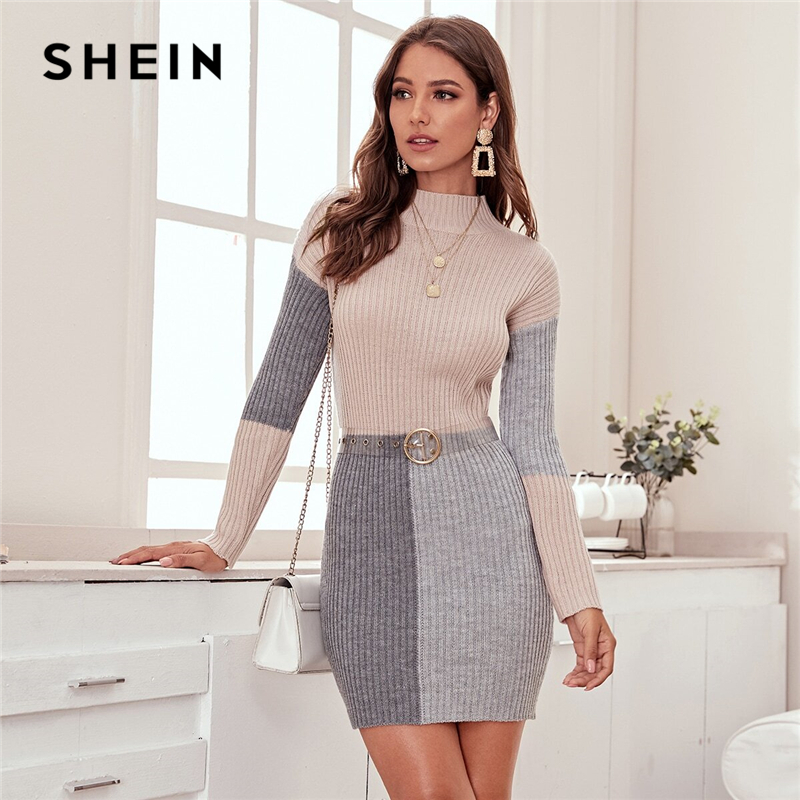 SHEIN Color Block Rib-knit Bodycon Sweater Dress Without Belt Women Spring Winter Stand Collar Knitted Elegant Pencil Dresses 1