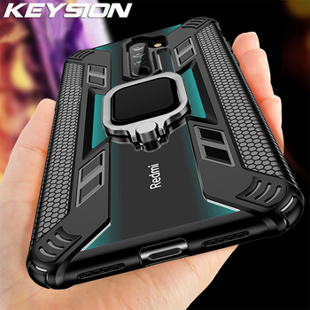 KEYSION Magnetic Shockproof Case for Redmi Note 8 Pro 7 K20 Back Phone Cover for Xiaomi Mi Note 10 CC9 Pro Mi 9 Lite Mi 9T A3 super shockproof phone case for xiaomi mi 9t mi 8 lite a2 lite mi 9 airbag silicone tpu case for xiaomi mi 9t mi 8 lite cover