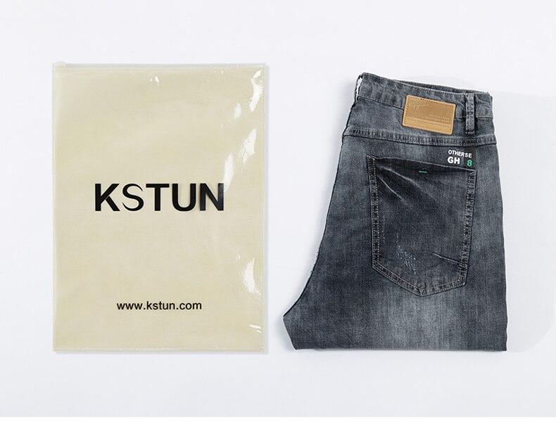 KSTUN jeans men ripped men's slim fit jeans summer stretch retro gray jeans mens denim pants distressed streetwear hip hop jeans 21