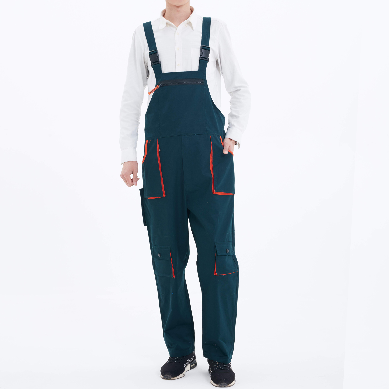 New Men Loose Bib Pants Straight Overalls Heavy Duty Work Trousers Dungarees Knee Pad Side Pockets Cago Pants Male Work Pant
