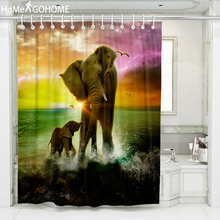 Elephant Playing in Water African Shower Curtain Animal Bathroom Ombre Sunset Bath Waterproof Polyester Fabric