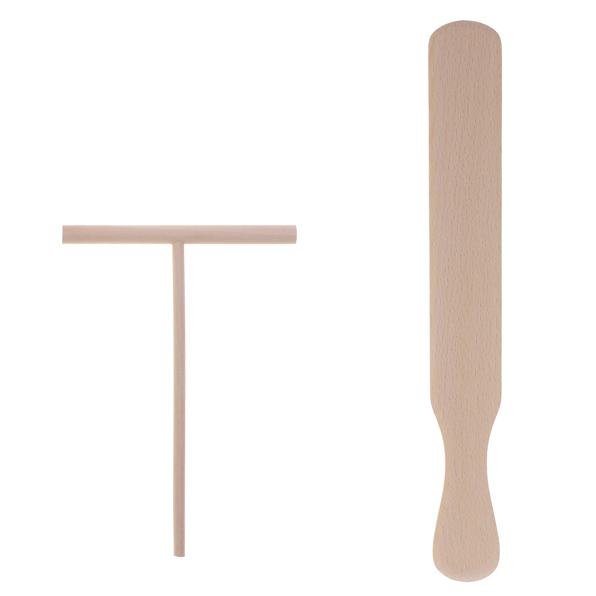 2pcs Pancake Cooking Pie Tool Chinese Wooden Crepe Maker Spreader And Spatula Tortilla Rake Batter Spreading Stick image