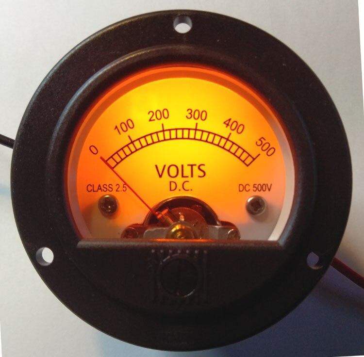 1pcs 52mm Round Pointer VU Meter DC500V Voltmeter LED With Yellow Backlight 8-12VDC