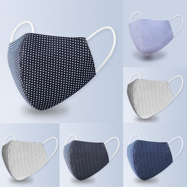 #H30 Dot Print Cotton PM2.5 Anti Haze Mask Anti dust mouth mask Washable Reusable Filter Mouth-muffle Mask Fabric Face Mask 2