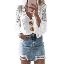 Lace Hollow Out White Blouse Women Solid Chiffon V-neck Lace Horn Sleeve Stylish Blouses Stitched Blouse Female femme grey v pattern back lace hollow out staple blouse