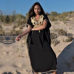 Image 1 - % 100% pamuk uzun plaj elbise plaj Coverups için kadın Pareo de Plage mayo Cover up plaj Sarongs mayo Kaftan plaj # Q660