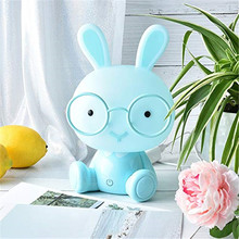 Cartoon Glasses Rabbit LED Night Light Touch Bunny Night Lamp Baby Kids Room USB Table Lamp Christmas Gift Bedside Home Decor