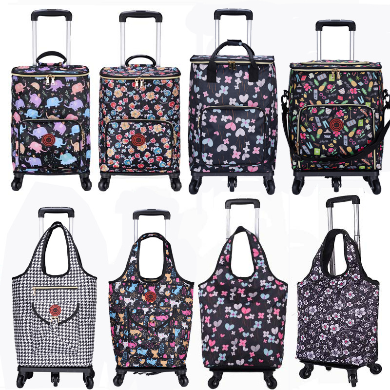 JULY'S SONG Shopping Tote Cart Folding Portable Bag For Shopping Large Capacity Vegetables Organizer Storage Bag