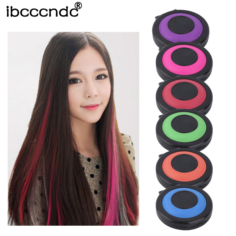 New 6 Colors Temporary Hair Dye Powder Cake Styling Hair Chalk Set Soft Pastels Salon Tools Non-toxic DIY Crayons For Hair