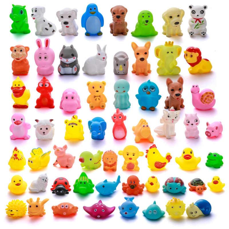 1pc lindo animales agua de baño juguetes de goma suave flotar Squeeze pato sonido chillón juguete | Baño de pato de juguete | bebé juguetes de baño