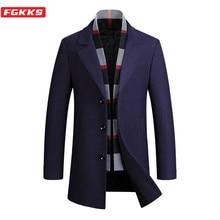 FGKKS Men Wool Coat Brand Long Autumn Winter New Plaid High