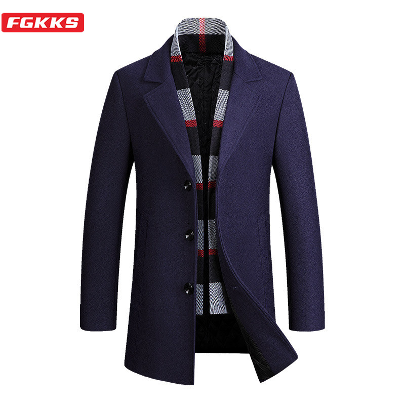 FGKKS Men Wool Coat Brand Long Autumn Winter New Plaid High Quality Jacket Luxurious Wool Blends Mens Coats 4xl