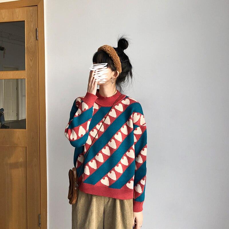 Gagaok женский милый свитер весна осень новый круглый вырез сердце Свободный Повседневный Harajuku ретро Женская мода Корейская верхняя одежда пу...