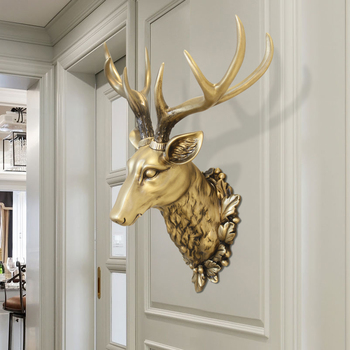 Big Deer Head Statue Home Decoration Accessories 3D Animal Abstract Sculpture Wall Hang Decor Christmas Statue Living Room Mural