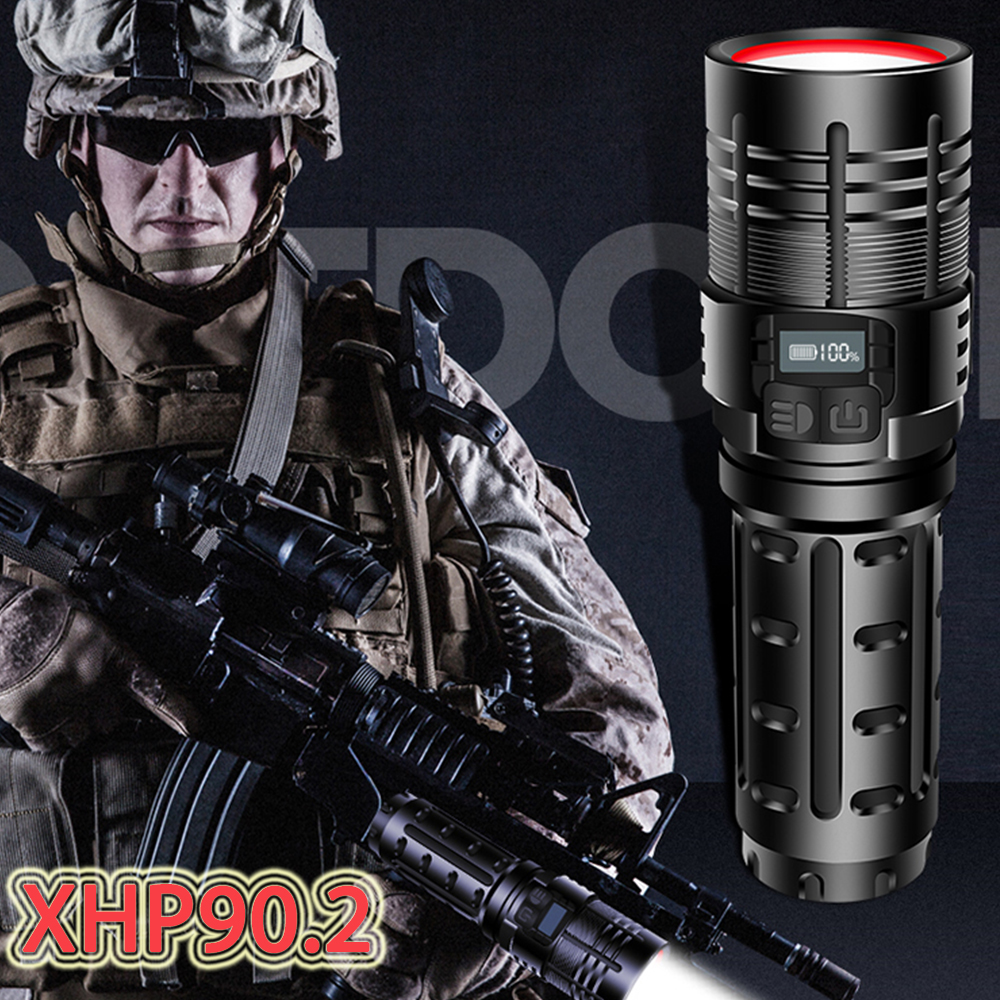 Most Powerful Xhp90 2 Led Flashlight Torch Xhp90 Tactical Mini Military Flashlight USB 18650 Rechargeable Hand Lamp led Lanterna