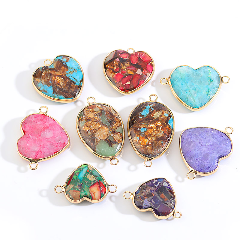 Heart Nature Imperial Stone Pendant connectors natural gem stone pendants Double Holes for Jewelry Making DIY Bracelet Necklace
