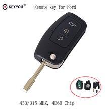 Keyyou 433mhz 4d60 chip chave do carro remoto apto para ford fusion foco mondeo fiesta galaxy automóvel fo21 lâmina flip chave automática