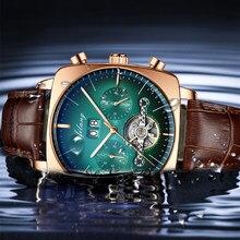 Relógio masculino luxo mecânico automático cronógrafo quadrado grande dial relógio oco à prova dwaterproof água 2020 novos relógios de moda dos homens suíço