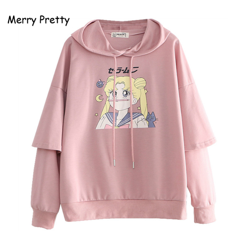 Merry Pretty Women's Cartoon Print Hooded Sweatshirts 2019 Winter Long Sleeve Patchwork Hoodies For Femme Harajuku Pullovers