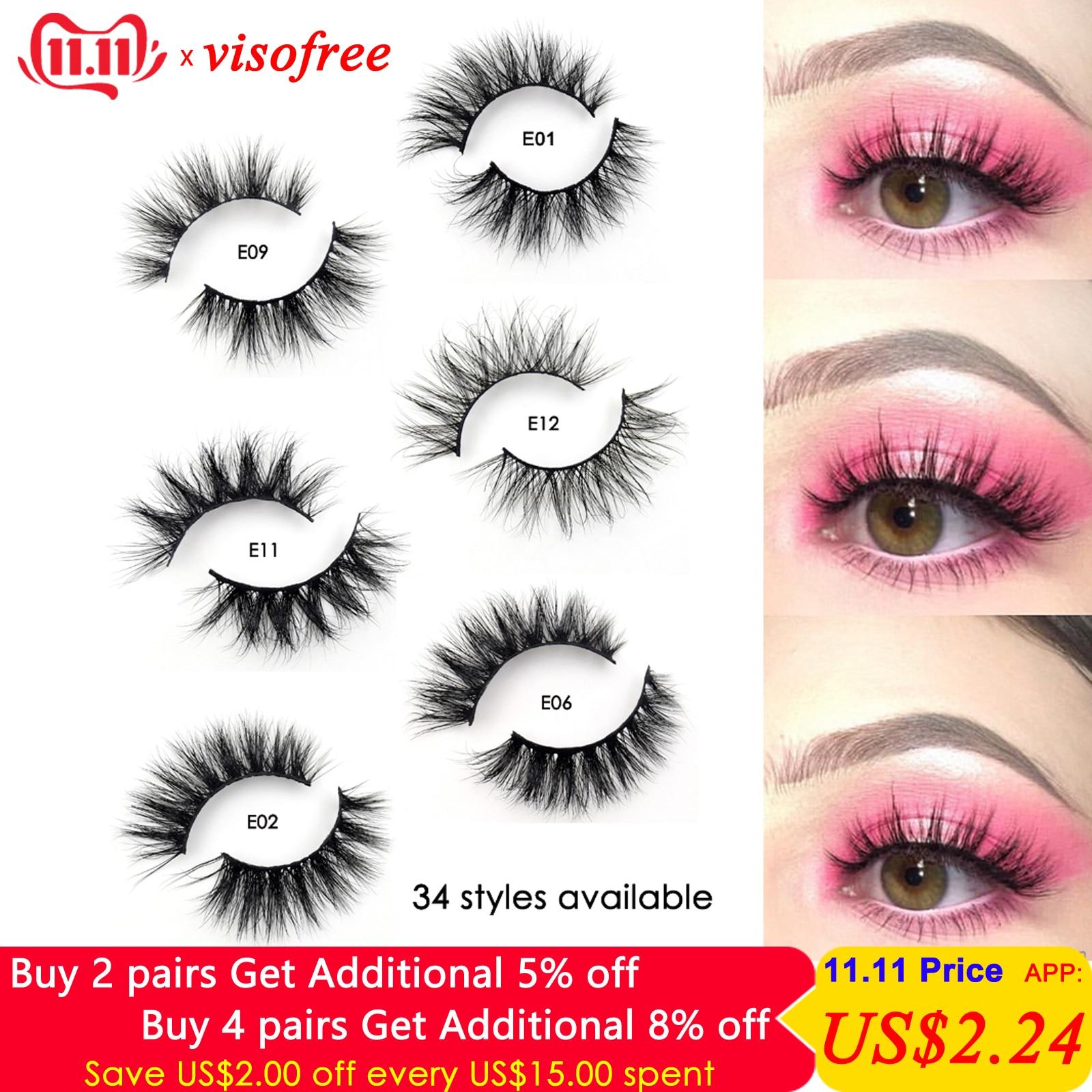 Visofree Mink Lashes 3D Mink Eyelashes 100% Cruelty free Lashes Handmade Reusable Natural Eyelashes Popular False Lashes Makeup-in False Eyelashes from Beauty & Health